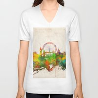 london map V-neck T-shirts featuring London  by Bekim ART