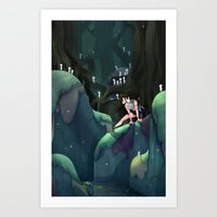 princess mononoke Art Prints featuring Princess Mononoke by IllustrateKate
