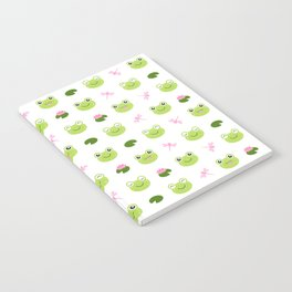 Frogs, Dragonflies and Lilypads on White Notebook
