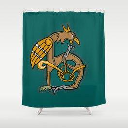 Celtic Medieval Griffin Letter H Shower Curtain