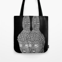 meditation Tote Bags featuring Meditation by Luna Portnoi