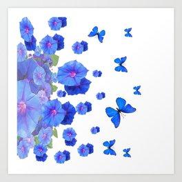 BABY BLUE ART BLUE BUTTERFLIES & MORNING GLORIES Art Print