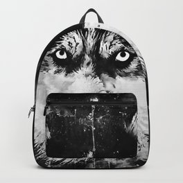 husky dog face splatter watercolor Backpack