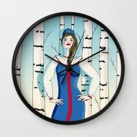 russian Wall Clocks featuring Russian beauty by Galina Khabarova