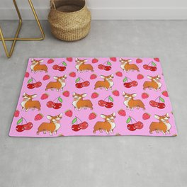 Cute happy playful funny puppy corgi dogs, red sweet summer strawberries and cherries pastel baby pink fruity pattern design. Rug
