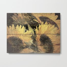Rustic Yellow Sunflower Flower Country Art Cottage Chic A022 Metal Print