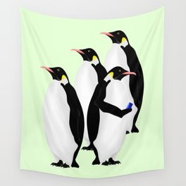 Penguin On A Mobile Device Wall Tapestry