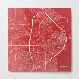 Mobile Map, USA - Red Metal Print
