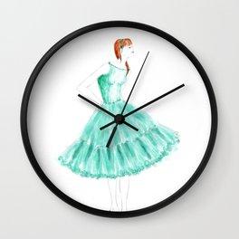 Fashion illustration 1950s dress in mint Wall Clock