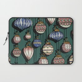 Christmas Ornaments Teal Green & pink palette  Laptop Sleeve
