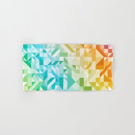 Colorful Geometric Pattern Saturated Rainbow Pattern Design (Red Pink Orange Yellow Green Blue) Hand & Bath Towel
