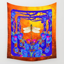 Blue Morning glories Dragonfly Golden Surreal Art Wall Tapestry