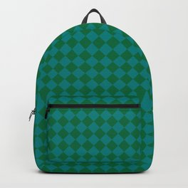 Teal Green and Cadmium Green Diamonds Backpack