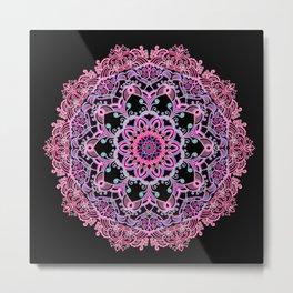 Mandala Project 281 | Pink Teal Purple Lace Mandala Metal Print