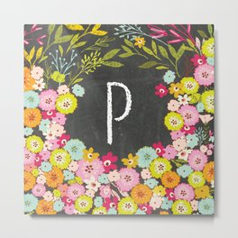 P botanical monogram. Letter initial with colorful flowers on a chalkboard background Metal Print