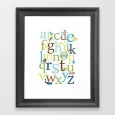 Alphabet Animals - Grass Stains colorway Framed Art Print