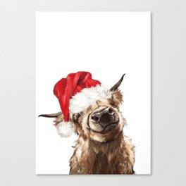 Christmas Highland Cow Canvas Print
