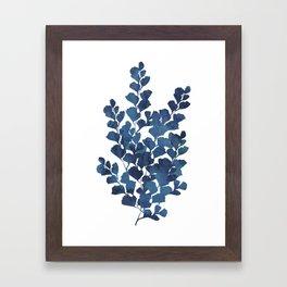 Blue watercolor maidenhair fern Framed Art Print