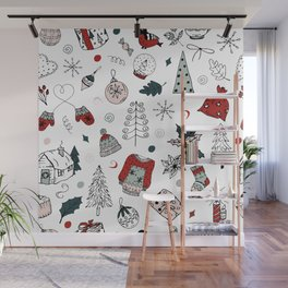 Christmas holiday pattern, winter hand drawing background. Wall Mural