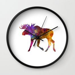 Moose 02 in watercolor Wall Clock