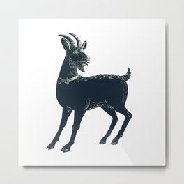 The Goat Wearing Bow Tie Scratchboard Metal Print