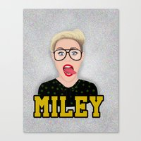 miley cyrus Canvas Prints featuring Miley Cyrus by Jessica Guetta