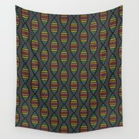 dna Wall Tapestries featuring Rainbow DNA by robyriker