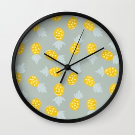 Pineapple Party – Yellow & Mint Wall Clock
