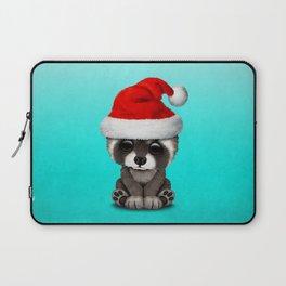 Christmas Raccoon Wearing a Santa Hat Laptop Sleeve