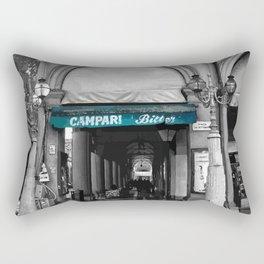 Black and White Bologna Street Photography Vector Green Rectangular Pillow