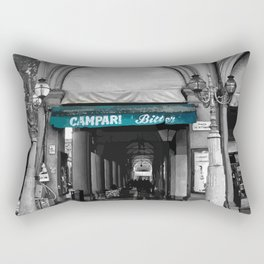 Black and White Bologna Street Photography Vector Green Rectangular Pillow