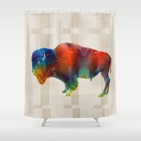 nfl Shower Curtains featuring Buffalo Animal Print - Wild Bill - By Sharon Cummings by Sharon Cummings