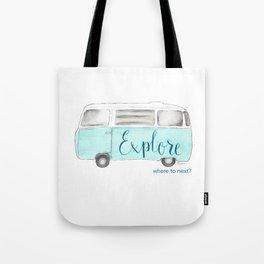 Retro Vintage Explore Bus Van Tote Bag