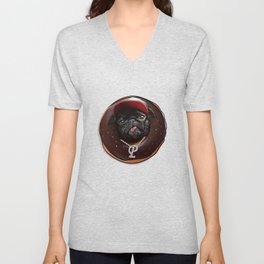 Black Pug Chocolate Donut Unisex V-Neck