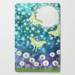 the moon, stars, luna moths, & dandelions Cutting Board