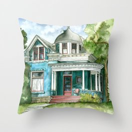 The House with Red Trim Throw Pillow