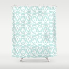 family life in turquoise and teal Shower Curtain