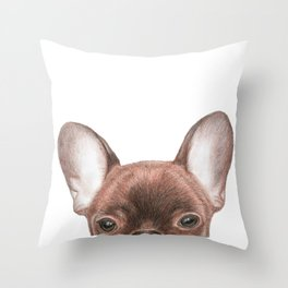 Peek-a-Boo Frenchie Throw Pillow
