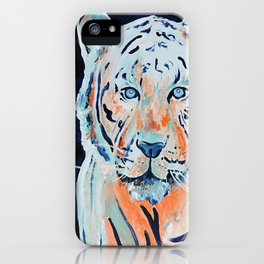 Blue and Orange Tiger iPhone Case