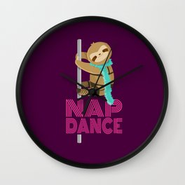 Funny Nap Dance Neon Sign Cute Sloth Pole Dancer Wall Clock