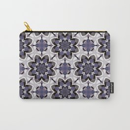 Plum Black and White Mosaic Pattern Carry-All Pouch