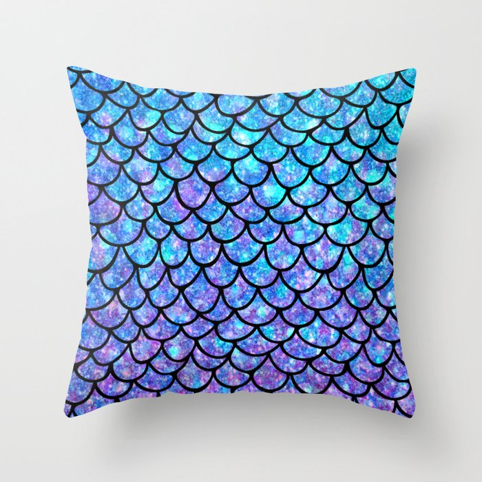 Purples & Blues Mermaid scales Throw Pillow