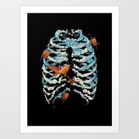 huebucket Art Prints featuring FISH BONE  by Huebucket