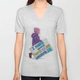 Women's March Pussyhat Girl Protester Unisex V-Neck