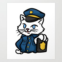 police policeman officer gift security guard law Art Print