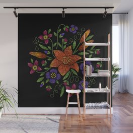 Embroidered Flowers on Black Circle 10 Wall Mural