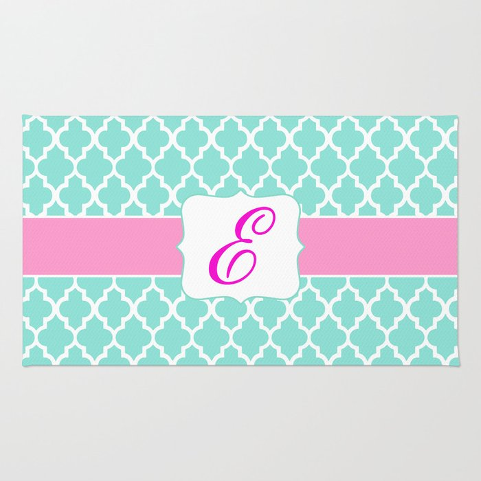 """Mint Moroccan Print with Pink Accent and """"E"""" Monogram Rug"""