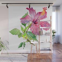 Tropical Pink Hibiscus Watercolor Wall Mural