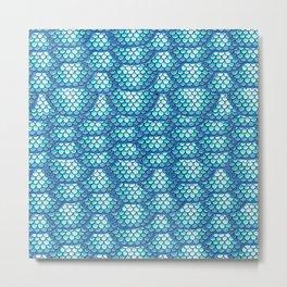 Teal Turquoise Mermaid Scales Pattern Metal Print