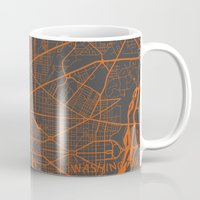 washington Mugs featuring Washington Map by Map Map Maps